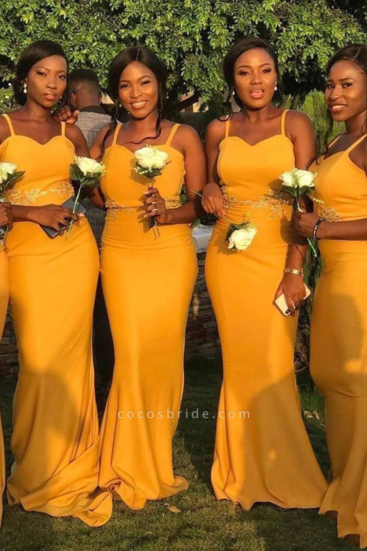 Graceful Floor Length Sheath Bridesmaid Dress