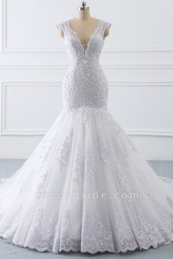 Chic V-neck Appliques Mermaid Tulle Wedding Dress
