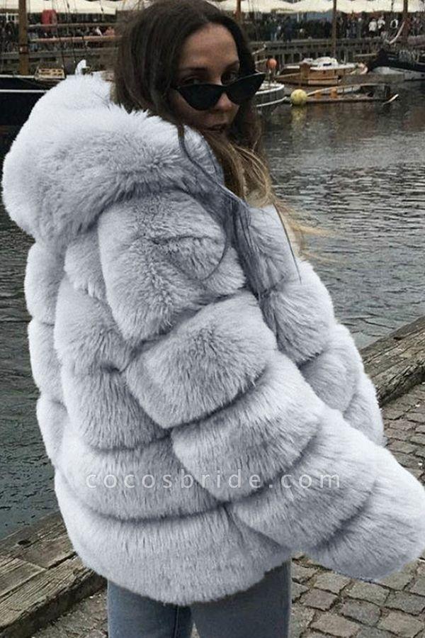 Women's Daily Winter Hooded Faux Fur Coat