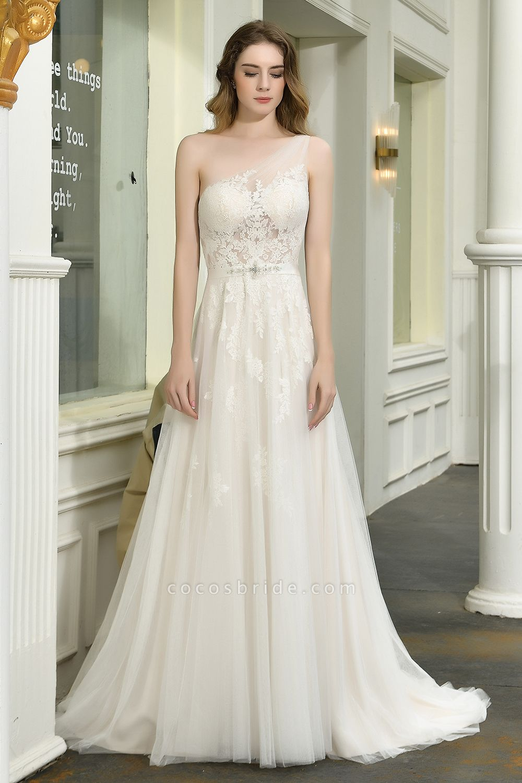 One Shoulder Lace Tulle Backless Wedding Dresses