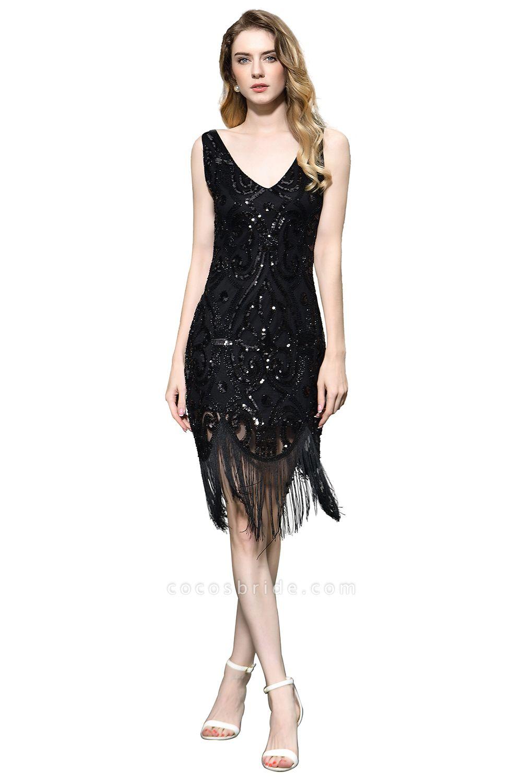 Chic Fringed Sequins V-neck Knee Length Prom Dress