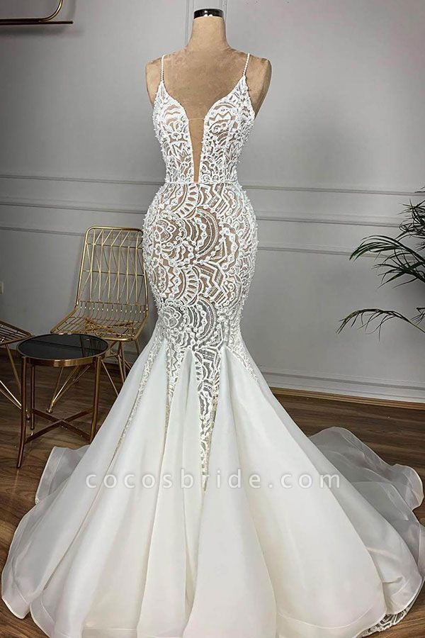 Gorgeous Beaded Lace Organza Mermaid Wedding Dress