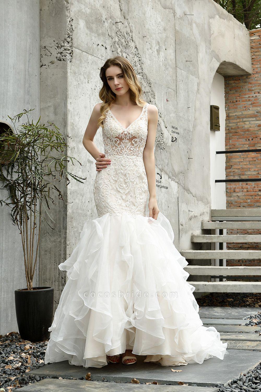 Graceful V-neck Appliques Mermaid Wedding Dress