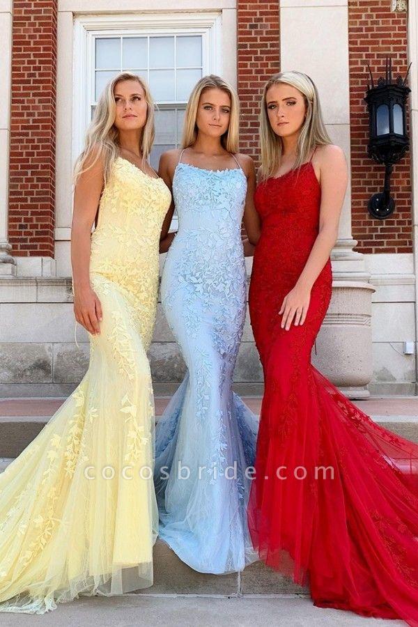 Elegant Spaghetti Straps Lace Column Prom Dress