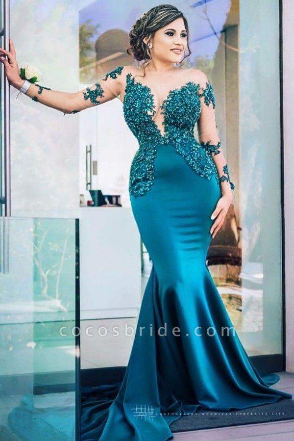 Latest Jewel Satin Mermaid Prom Dress