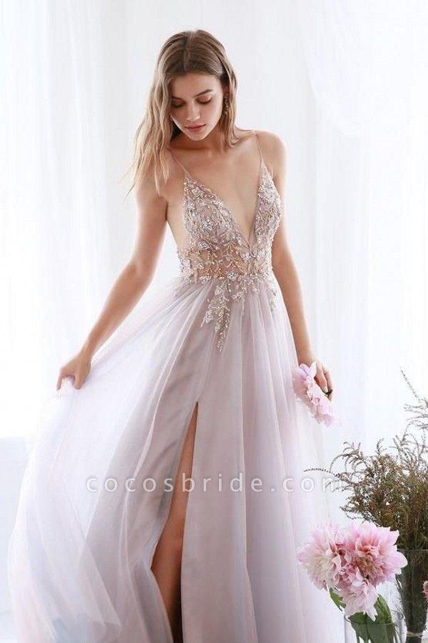 Best V-neck Tulle A-line Prom Dress