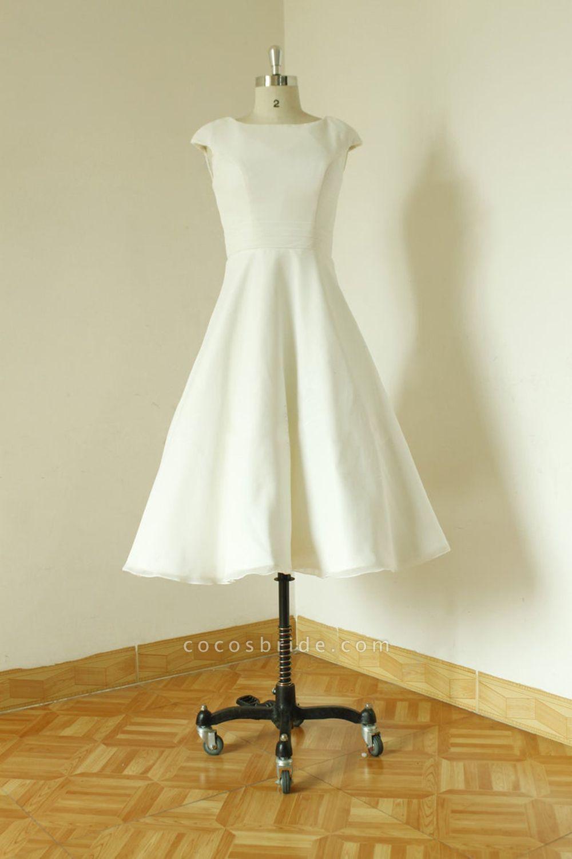 Cap Sleeve Chiffon Mini A-line Wedding Dress