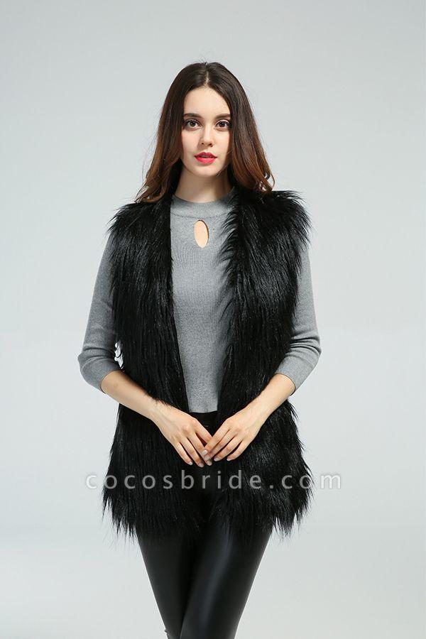 Women's Daily Fall & Winter Faux Fur Vest Coat