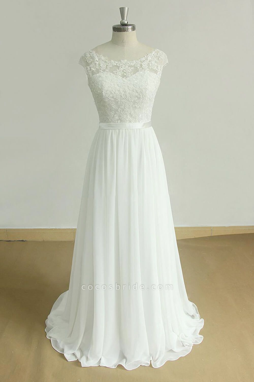 Chic Cap Sleeve Lace Chiffon A-line Wedding Dress