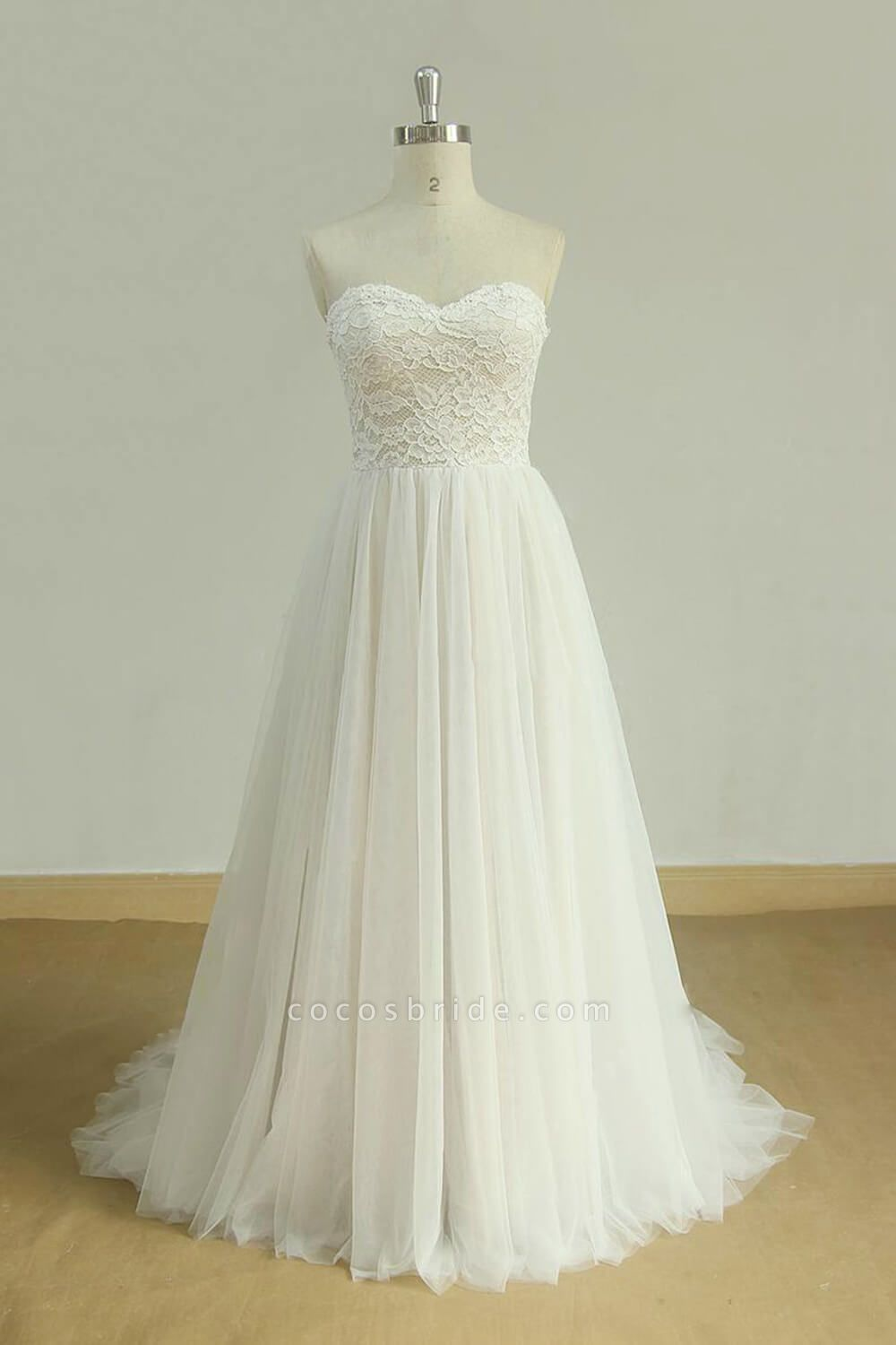 Detachable Lace-up Tulle A-line Wedding Dress