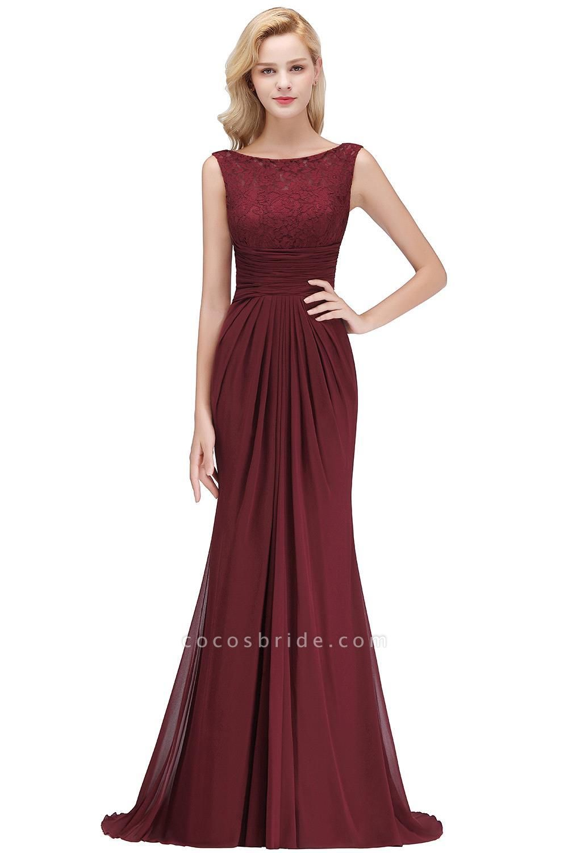 Mermaid Burgundy Chiffon Ruffles Evening Dress