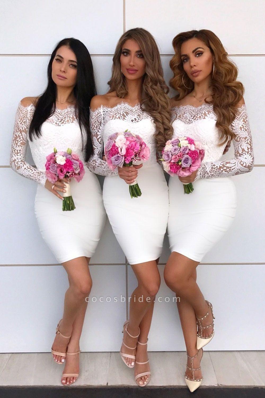Long Sleeve Off Shoulder Lace Mini Bridesmaid Dress