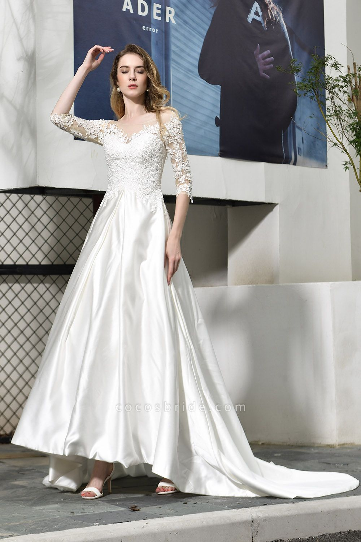 Lace Half Sleeves V Neck Sheer Tulle Wedding Dress