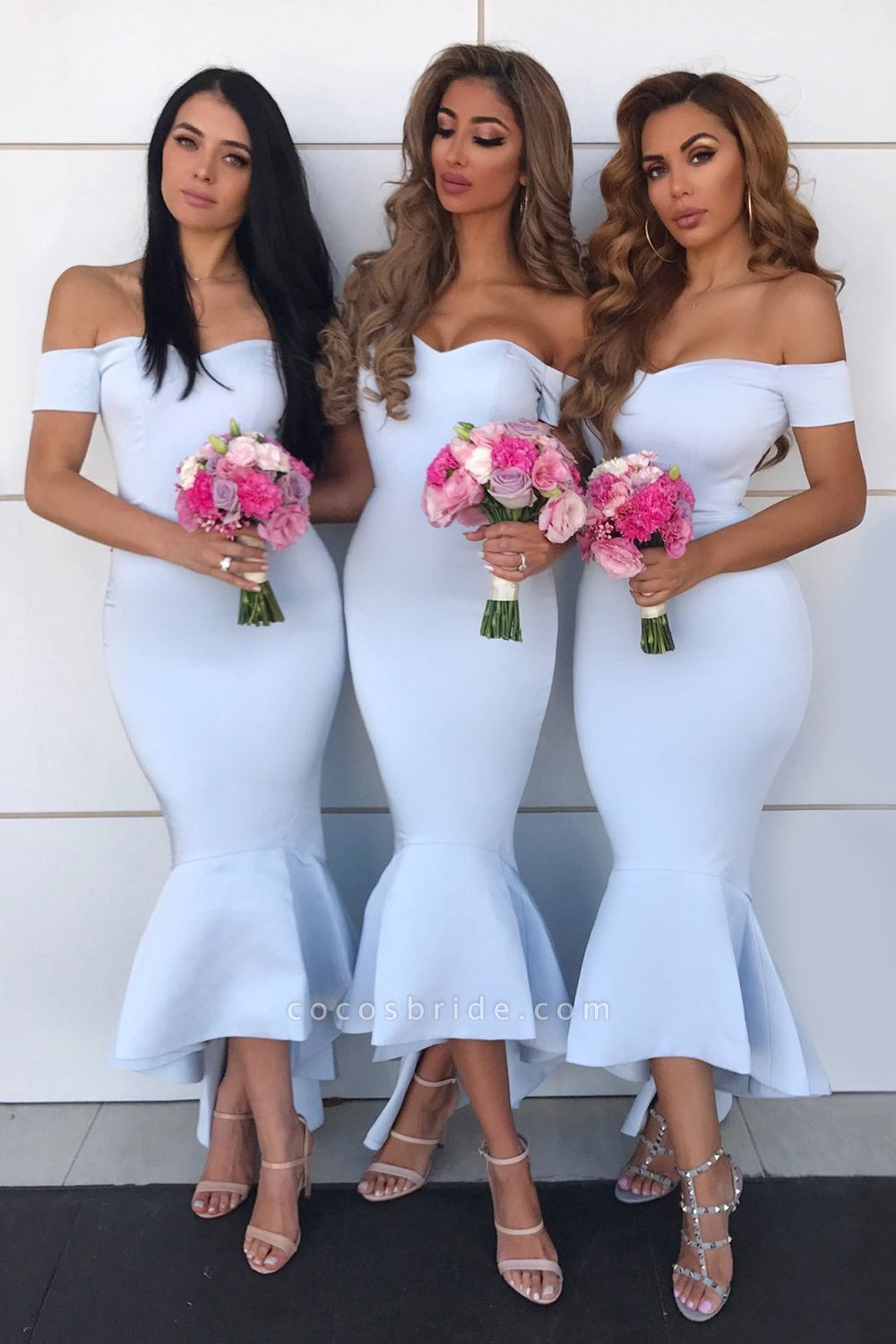 Open Back Short Sleeve Mermaid Bridesmaid Dress