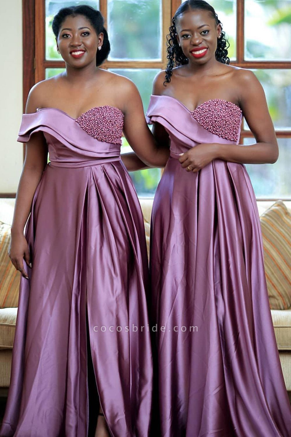 Front Slit Strapless Beading A-line Bridesmaid Dress