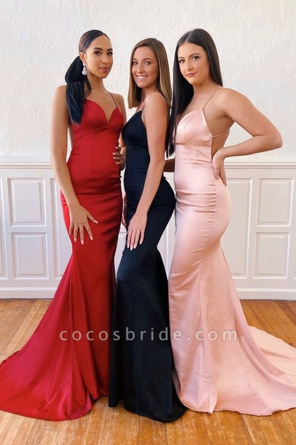 Precious Spaghetti Straps Satin Mermaid Prom Dress