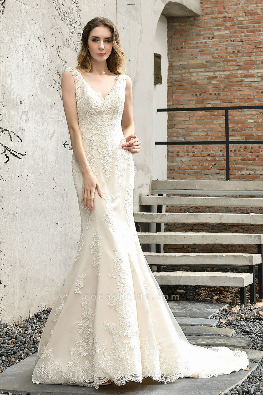 Straps Lace Backless Floor Length Wedding Dresses
