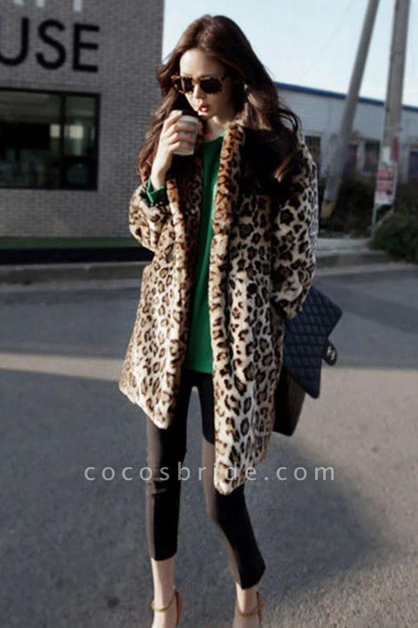 Women's Daily Fall & Winter Leopard Faux Fur Coat