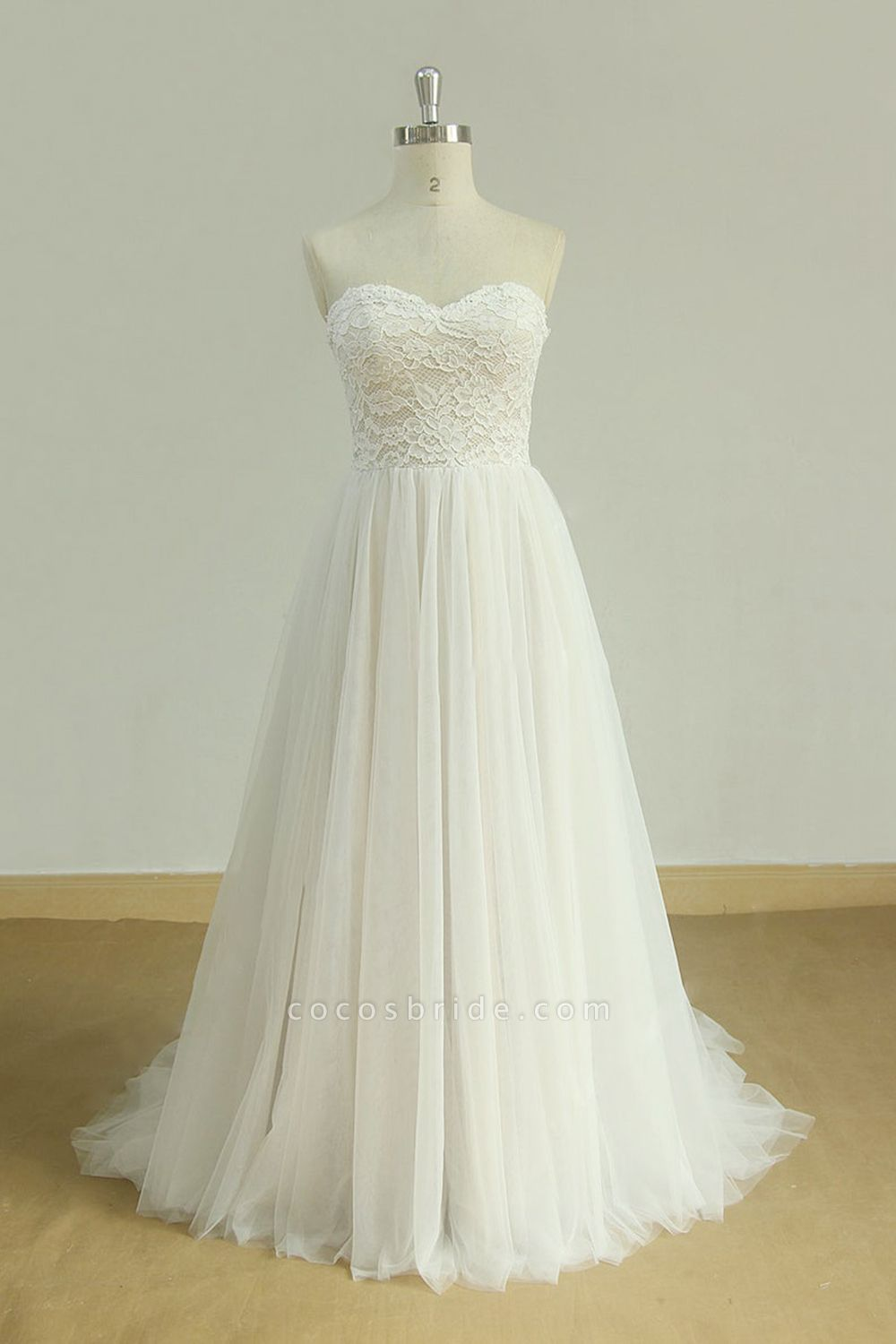 Lace-up Strapless Tulle A-line Wedding Dress