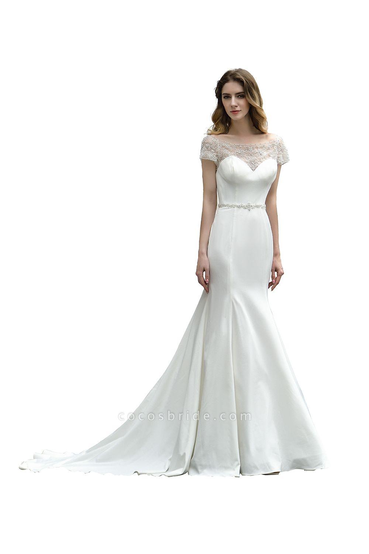 Short Sleeve Lace Mermaid Pearls Wedding Dress With Belt