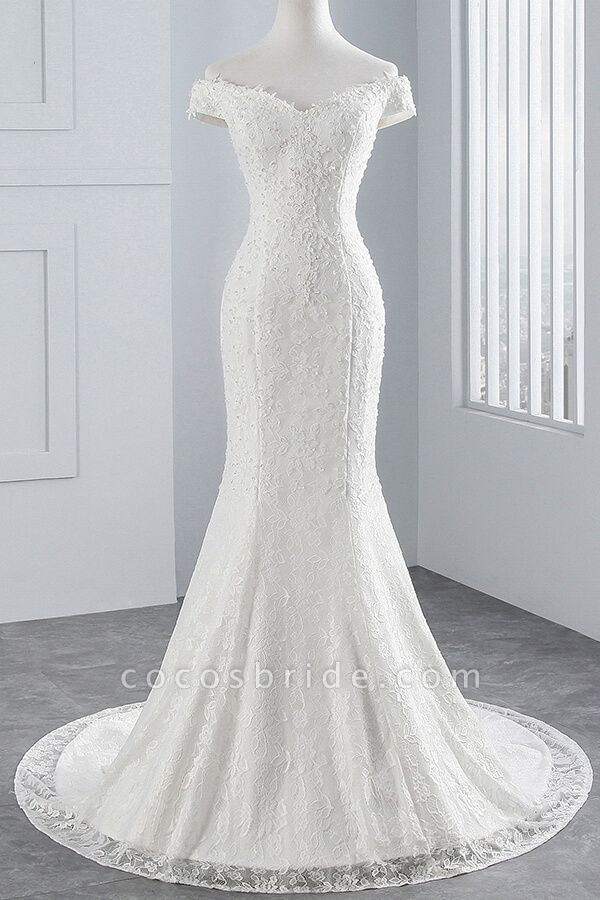 Off Shoulder Lace-up Mermaid Lace Wedding Dress