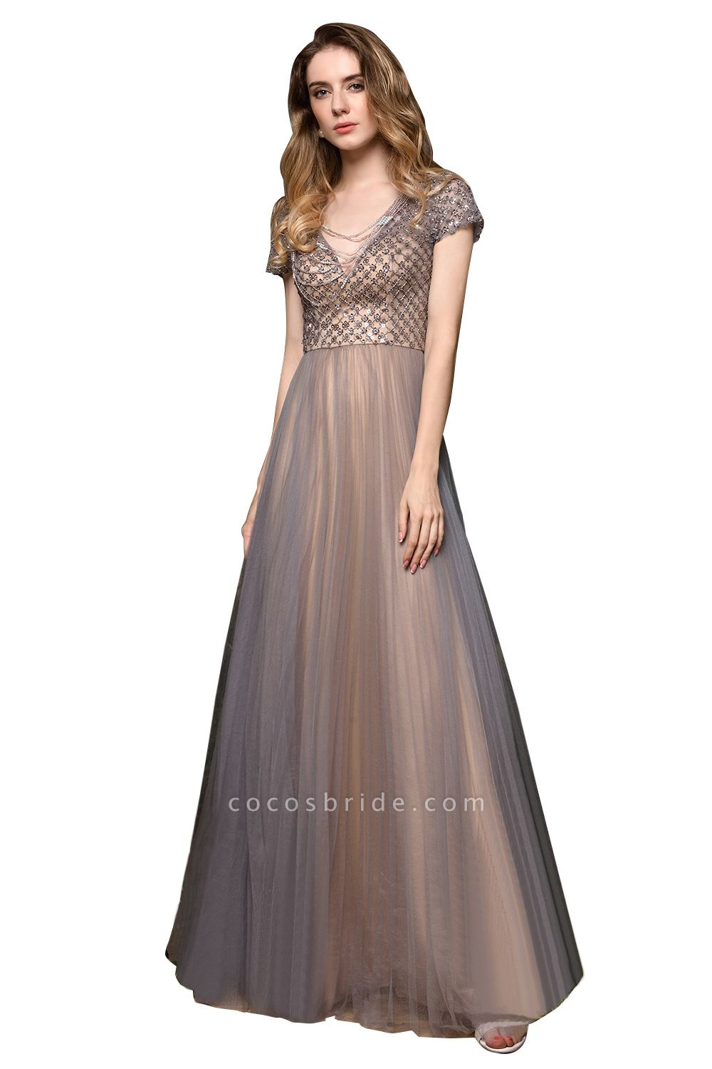 Stunning Short Sleeves Squared Sequined Tulle Prom Dress