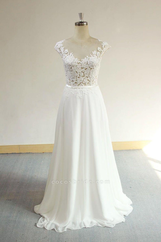 Cap Sleeve Appliques Chiffon A-line Wedding Dress