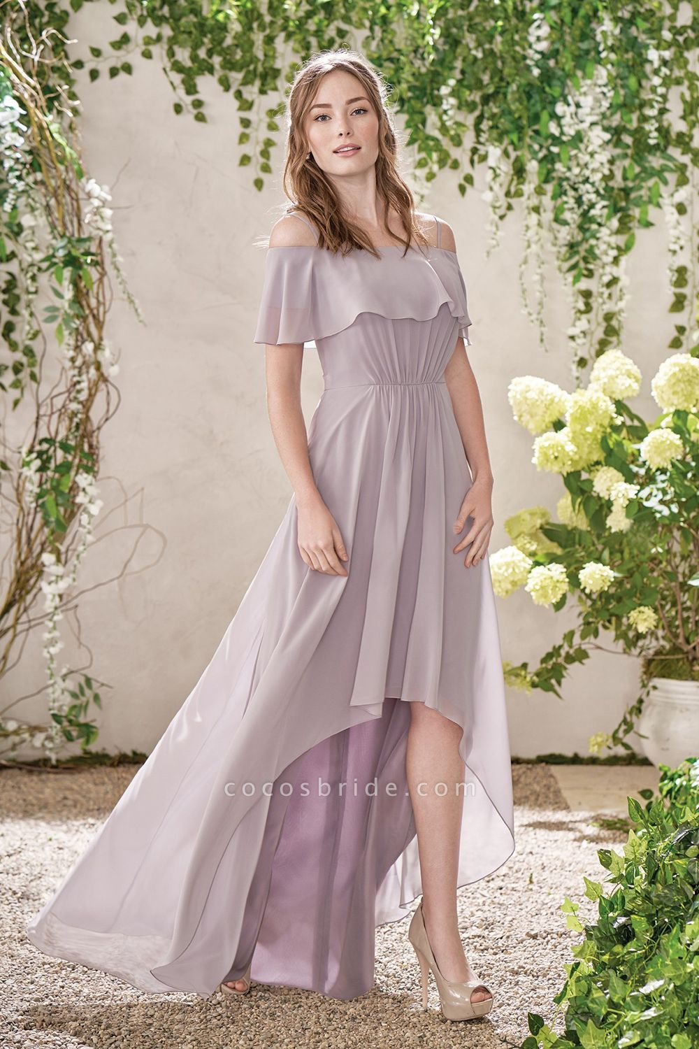 Off The Shoulder Chiffon High Low Bridesmaid Dress