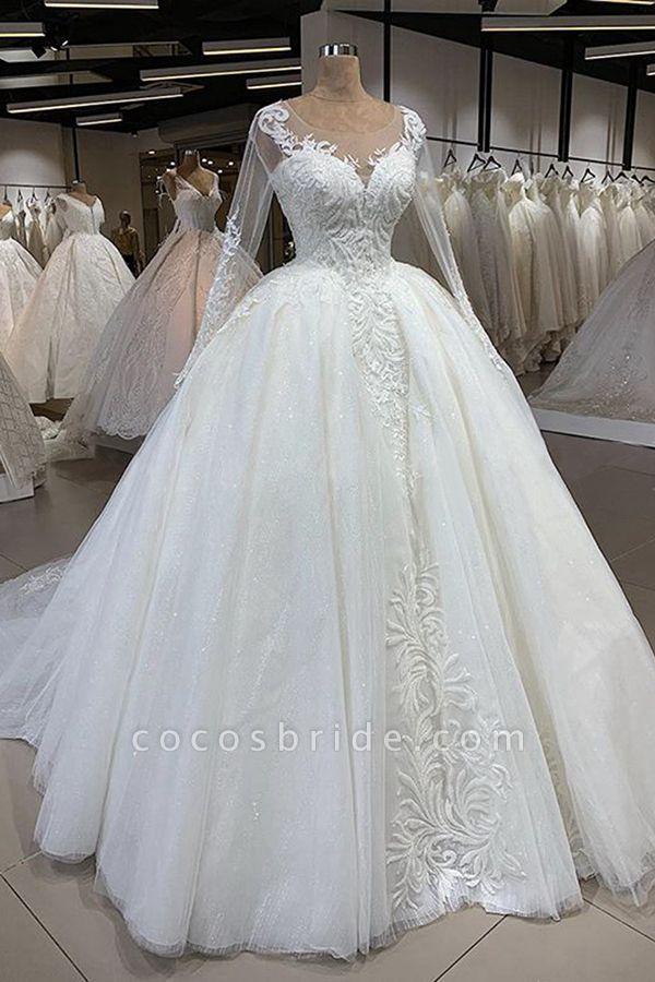 Elegant Long Sleeve Ball Gown Tulle Wedding Dress