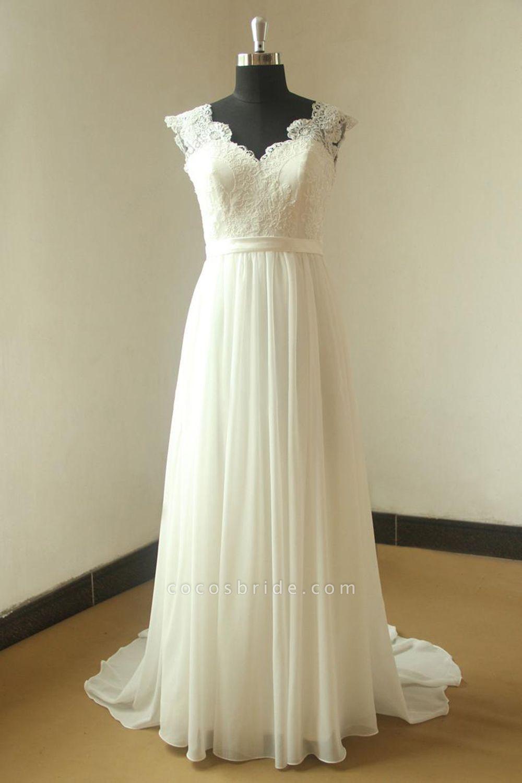 V-neck Lace Chiffon Floor Length Wedding Dress