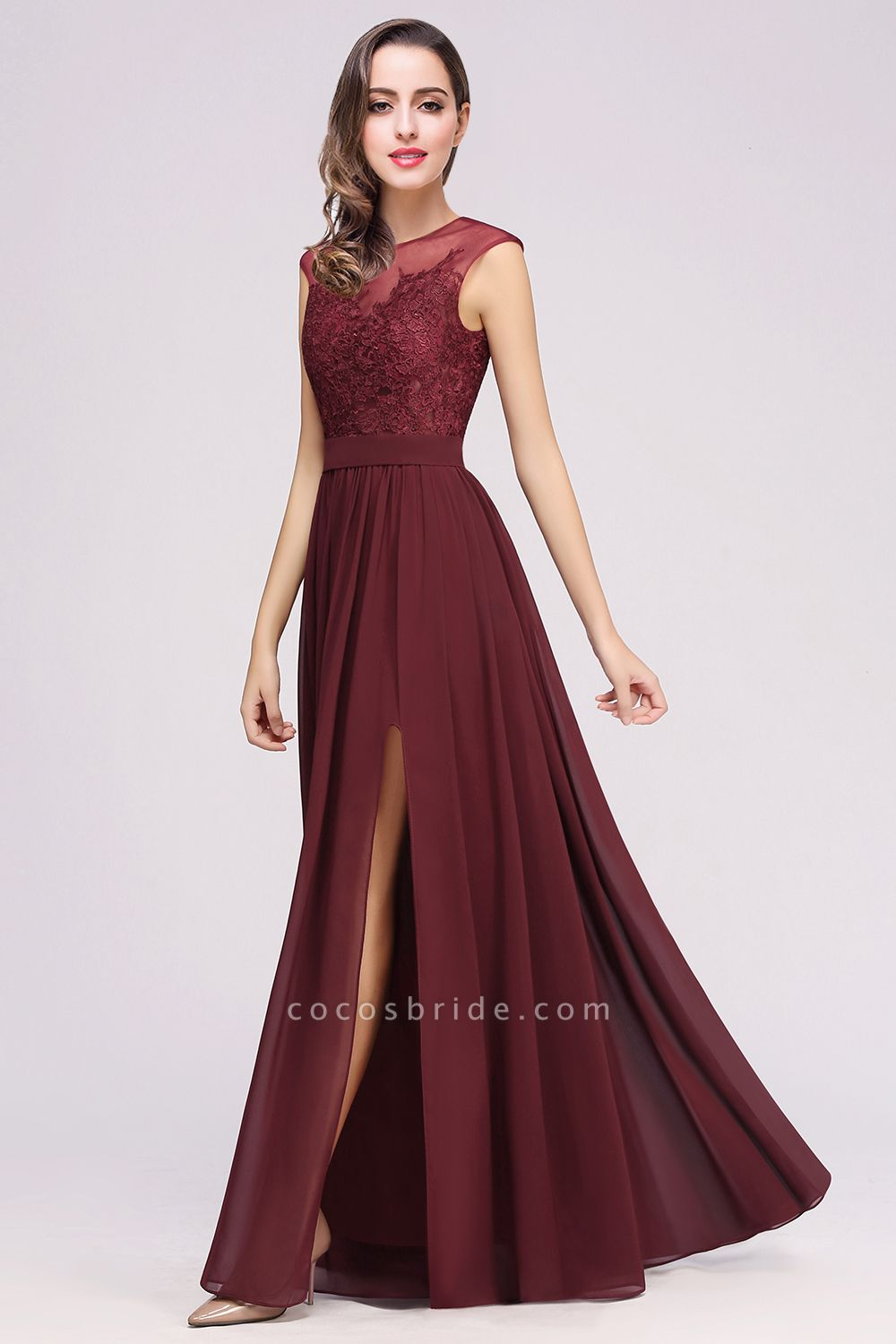 https://www.cocosbride.com/lace-chiffon-floor-length-a-line-bridesmaid-dress-g950?cate_2=69