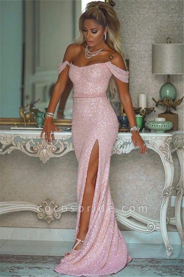 Elegant Off-the-shoulder Sequined Column Evening Dress