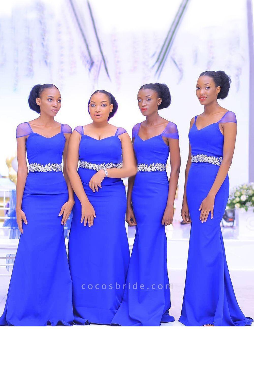 Latest Cap Sleeve Tulle Sheath Bridesmaid Dress