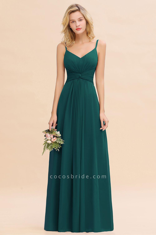 BM0762 Elegant A-line Ruffles Spaghetti Straps Bridesmaid Dress