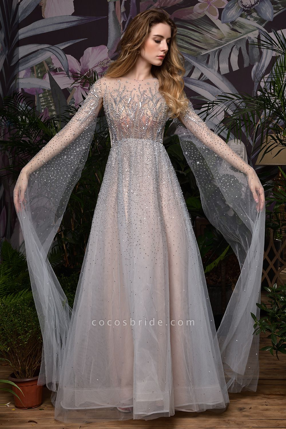 Luxury Shawl Sequined A-line Long Prom Dress