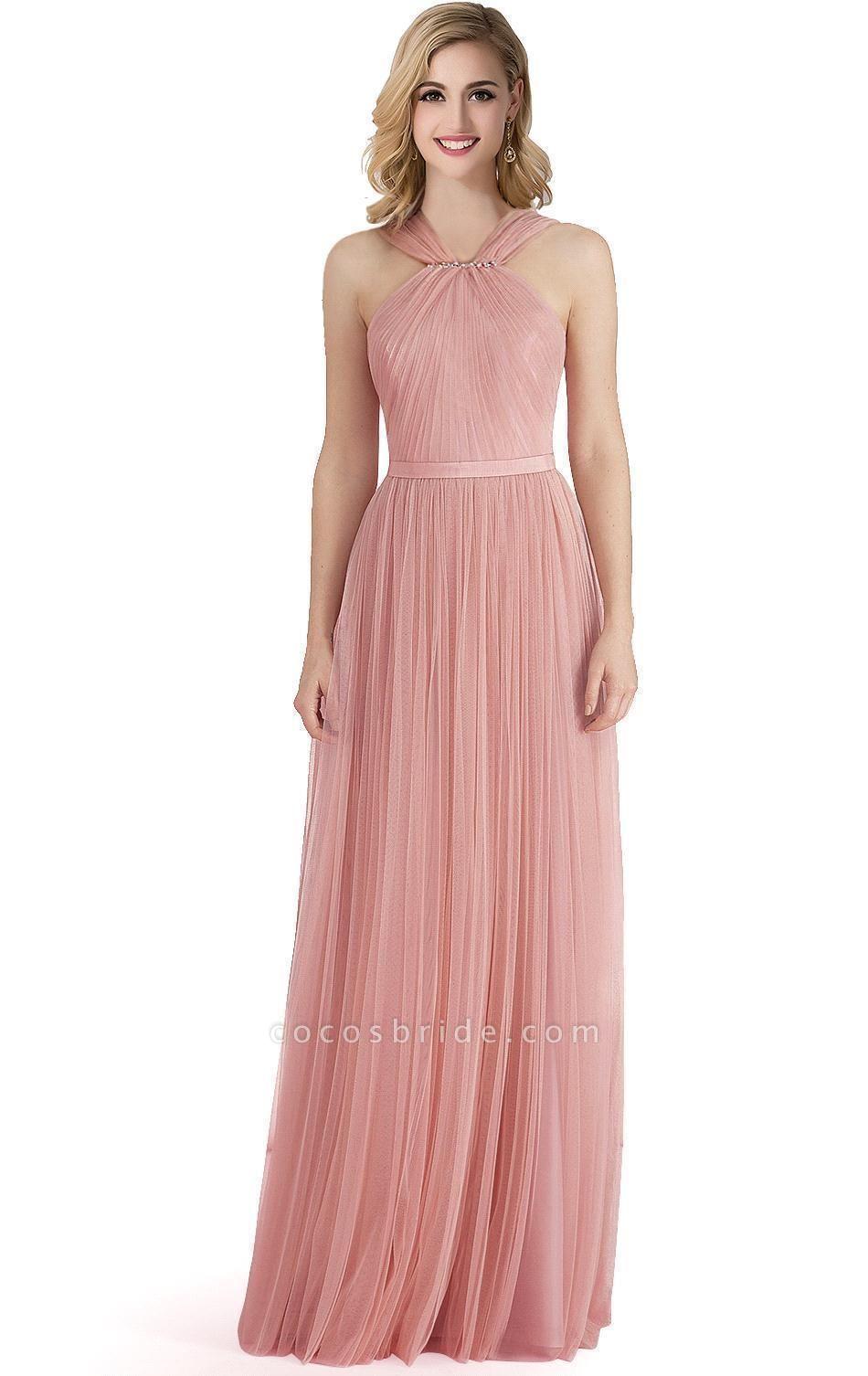ELLIOTT   Sheath Floor-length Pink Tulle Bridesmaid Dresses with Ribbon Sash