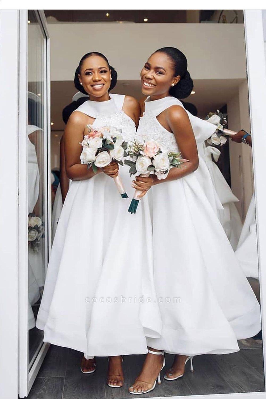 Cute Applqiues Satin A-line Bridesmaid Dress