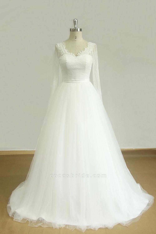 Elegent Long Sleeve V-neck Lace Tulle Wedding Dress