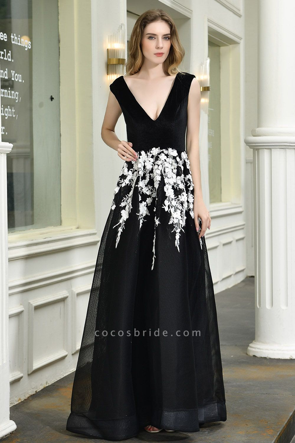 Appliques V-neck Floor Length A-line Prom Dress