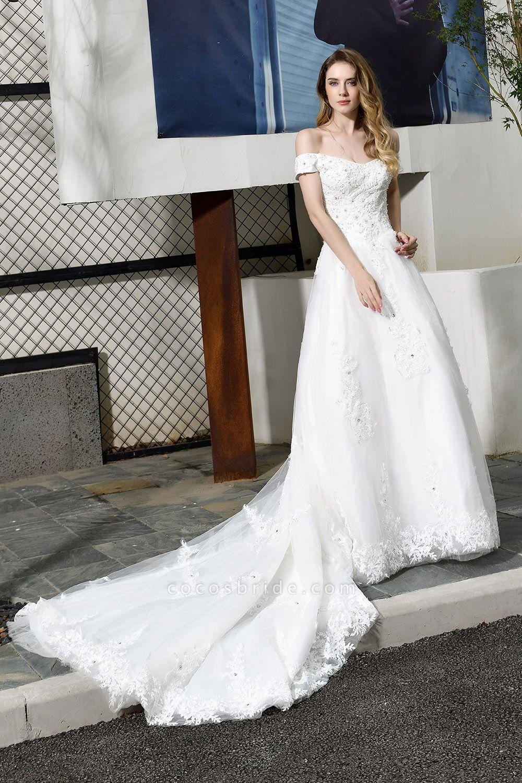 Gorgeous A-Line Lace Off Shoulder Wedding Dress