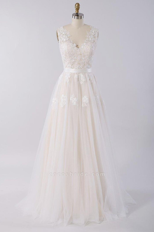 Elegant V-neck A-line Appliques Tulle Wedding Dress