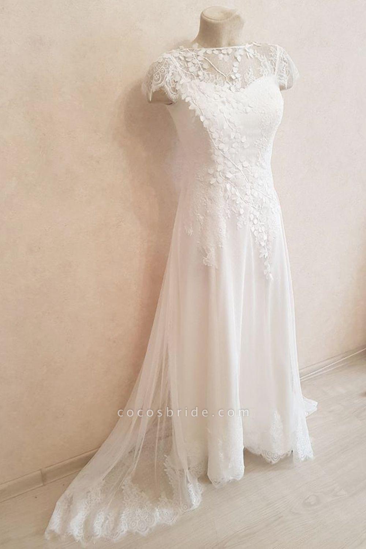 Elegant Cap Sleeve Lace Tulle A-line Wedding Dress