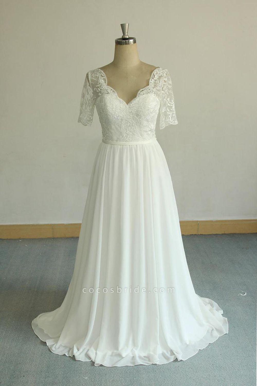 Short Sleeve V-neck Lace Chiffon Wedding Dress