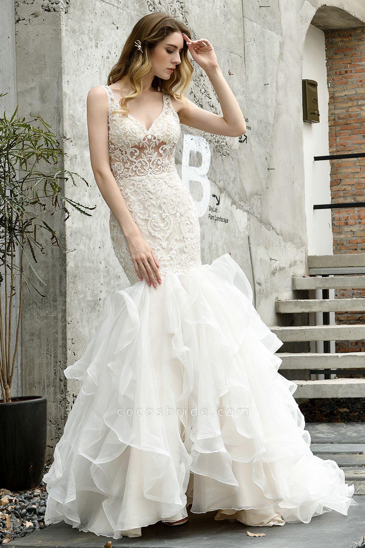 Mermaid V-neck Lace Organza Ruffles Wedding Dress