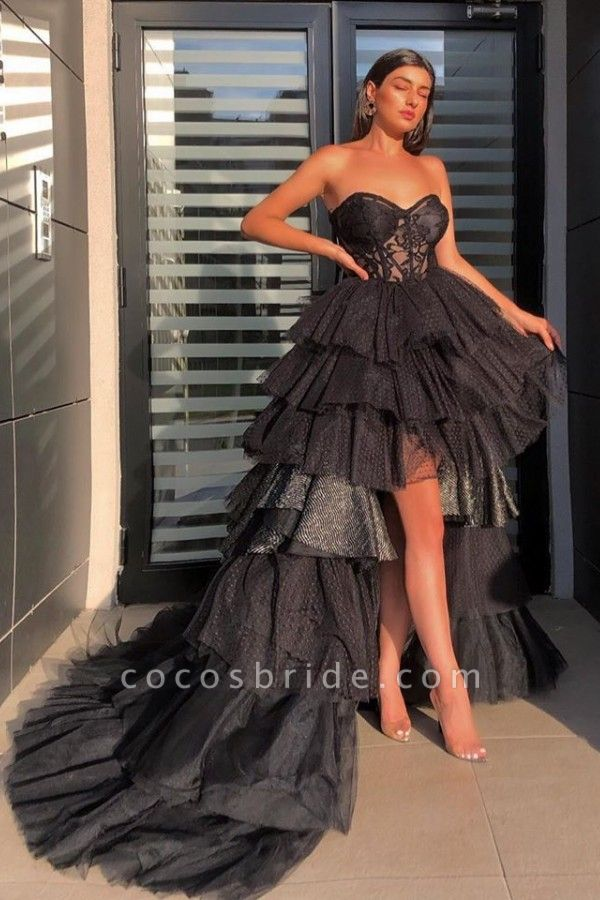 Individualistic Strapless Sweetheart Sheer Hi-Lo Tulle Prom Dresses | Sexy Evening Dresses