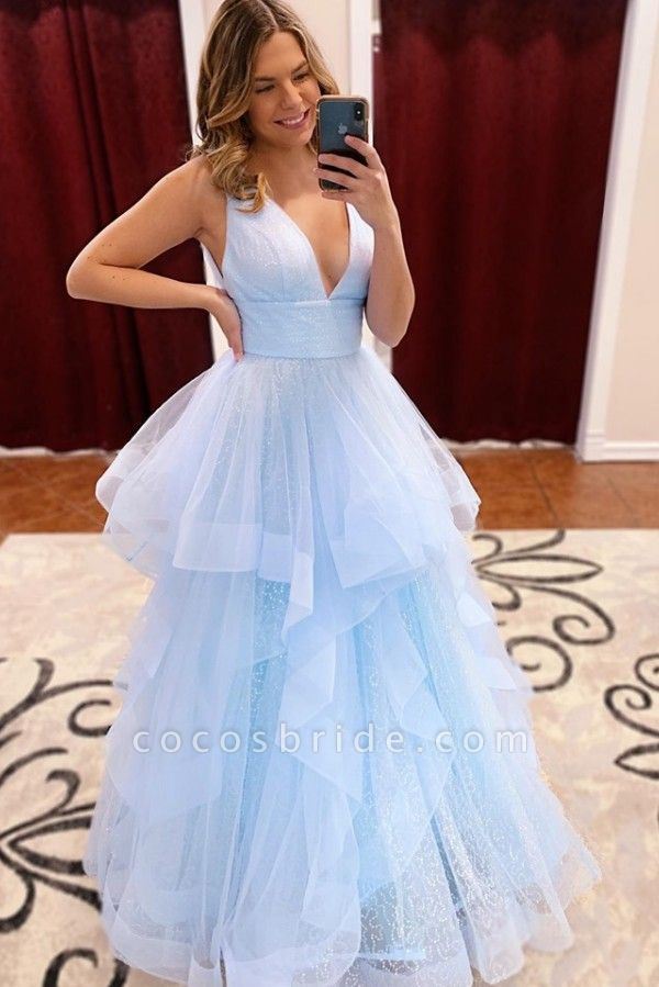 Exquisite V-neck Tulle A-line Prom Dress