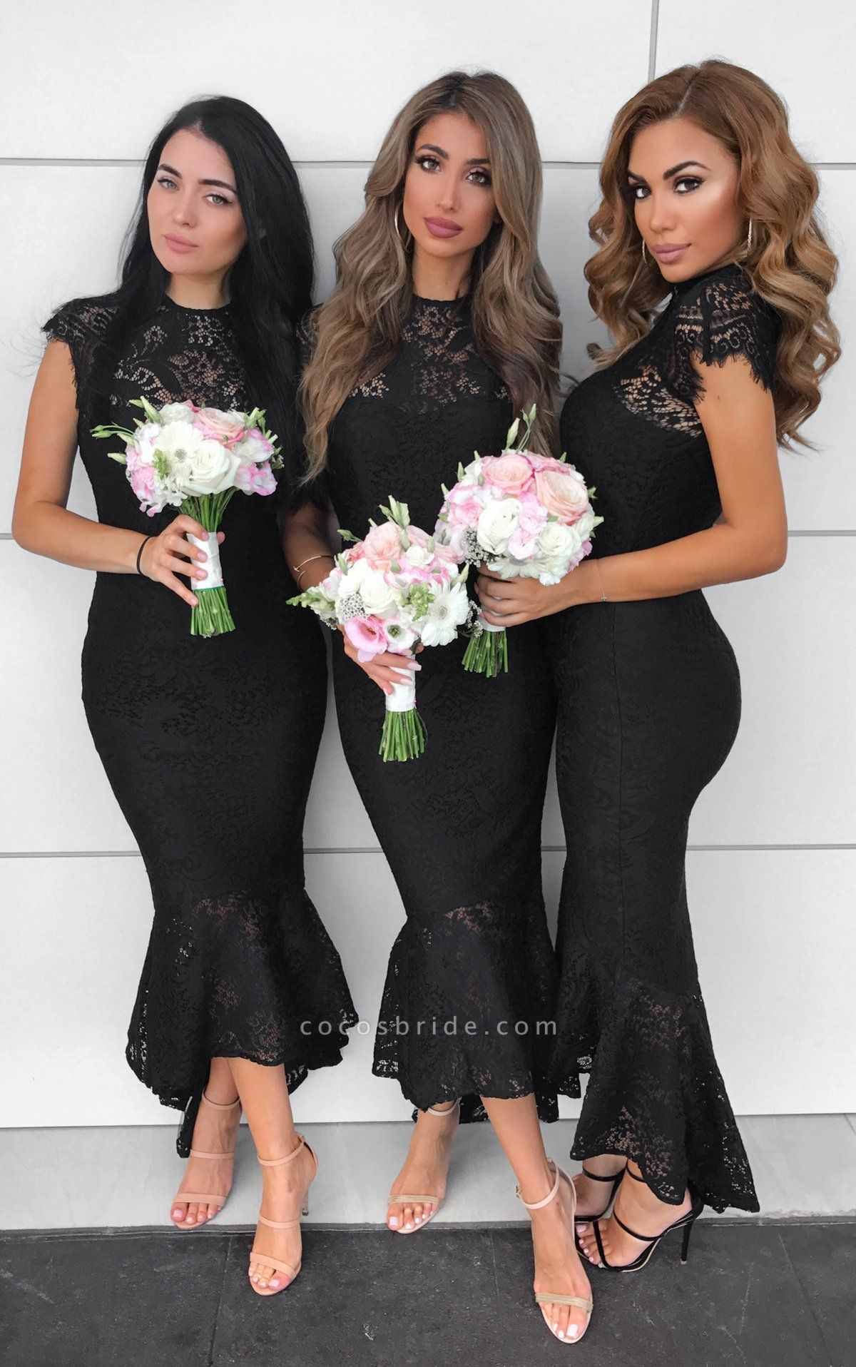 Awesome Lace High-low Mermaid Bridesmaid Dress