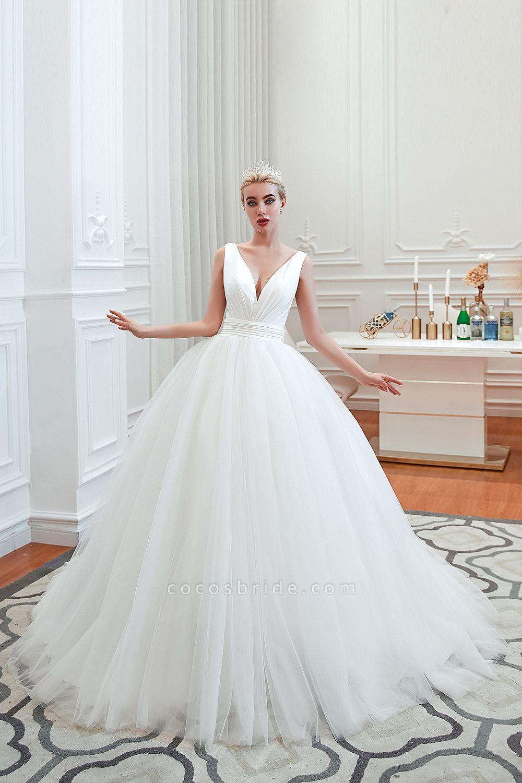 Elegant Lace-up Ruffle Tulle A-line Wedding Dress