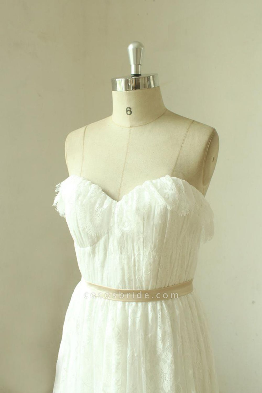 Strapless Lace A-line Floor Length Wedding Dress