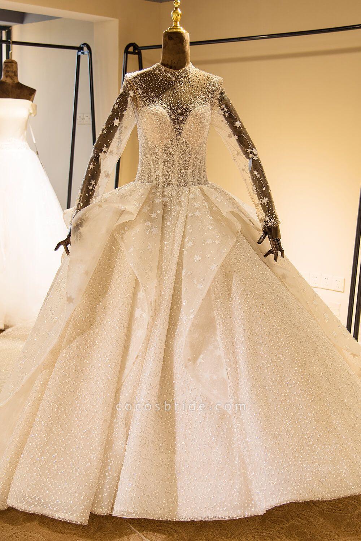 Long Sleeve Beading Lace-up Tulle Wedding Dress